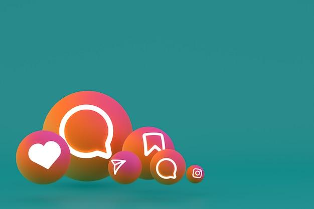 Zestaw ikon instagram renderowania na zielonym tle