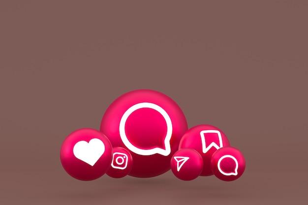 Zestaw ikon instagram renderowanie 3d na brązowym tle