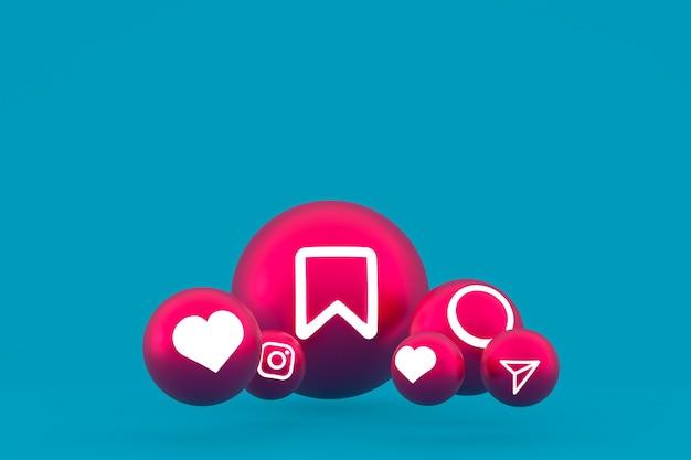 Zestaw ikon instagram renderowanie 3d na niebieskim tle