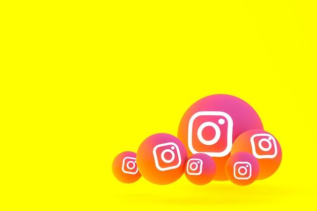 Zestaw ikon instagram renderowanie 3d na żółtym tle