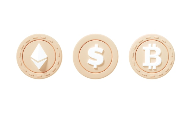 Zestaw ikon monety kryptowaluty ethereum, dolar, bitcoin