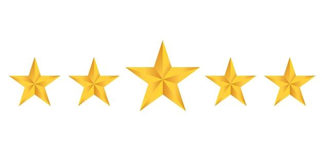 Zestaw ikon oceny gwiazdek. zestaw ikon złotej gwiazdy na białym tle