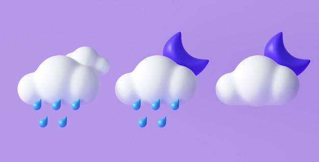 Zestaw ikon pogody 3d dla aplikacji do projektowania prognozy i sieci web. ilustracja renderowania 3d.