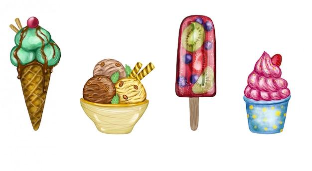 Zestaw ilustracji lody. cztery różne ręcznie malowane lody.