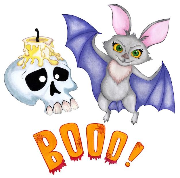 Zestaw ilustracji na halloween nietoperz z dużymi żółtymi oczami i fioletowymi skrzydłami spreparowaną czaszkę