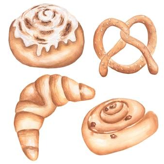 Zestaw ilustracji produktów piekarniczych akwarela