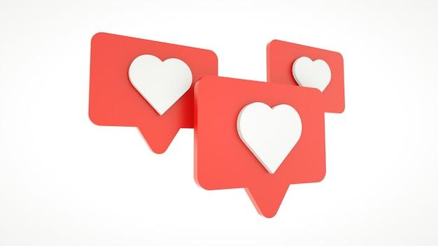 Zestaw jak ikona serca na czerwonym pin na białym tle. renderowania 3d. koncepcja mediów społecznościowych.