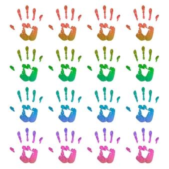Zestaw jasnych odcisków dłoni