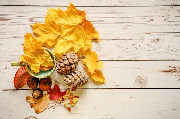 Zestaw jesiennych materiałów dla dziecięcej kreatywności i rękodzieła na drewnianym stole. pomarańczowe opadłe jesienne liście i nasiona klonu, szyszki cedru, gałązki i czerwone kasztany