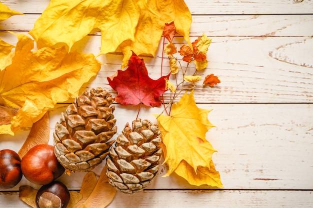 Zestaw Jesiennych Materiałów Dla Dziecięcej Kreatywności I Rękodzieła Na Drewnianym Stole. Pomarańczowe Opadłe Jesienne Liście I Nasiona Klonu, Szyszki Cedru, Gałązki I Czerwone Kasztany Premium Zdjęcia