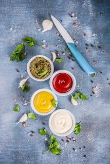 Zestaw klasycznych sosów i przypraw