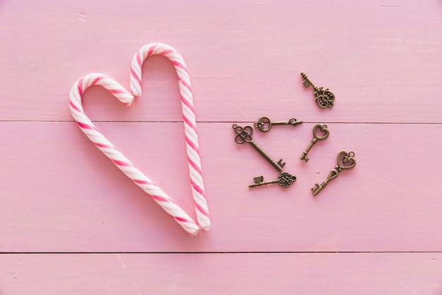 Zestaw kluczy w pobliżu laski cukierków