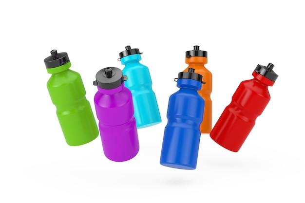 Zestaw kolorowe plastikowe shaker do picia wody sportowe butelki na białym tle. renderowanie 3d