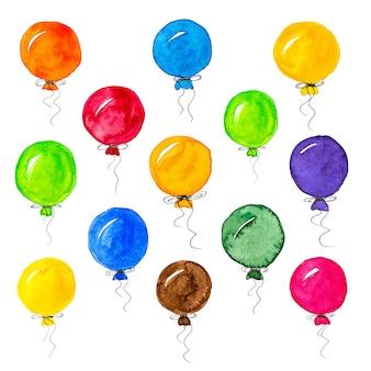 Zestaw kolorowych balonów akwarela na białym tle