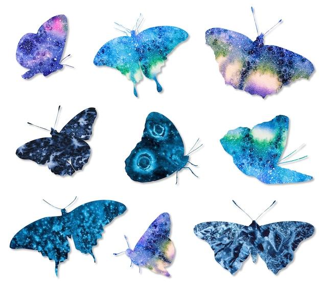 Zestaw kolorowych motyli akwarelowych