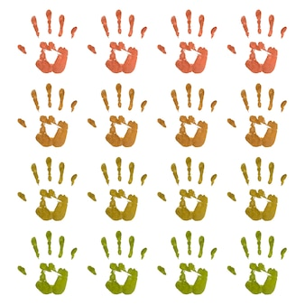Zestaw kolorowych odcisków dłoni
