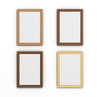 Zestaw kolorowych pionowych drewnianych ramek o różnych rozmiarach na białym tle