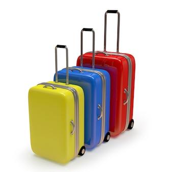 Zestaw kolorowych walizek podróżnych