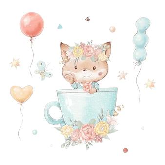 Zestaw kreskówka lis w filiżance. balony i kwiaty.