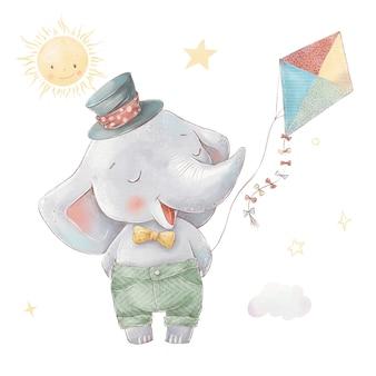 Zestaw kreskówka słoń w balonem. akwarela ilustracja.