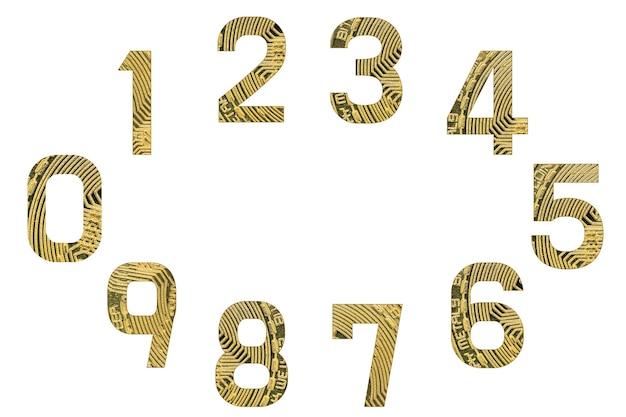 Zestaw liczb bitcoin, na białym tle. cyfry w stylu kryptowalut od zera do dziewięciu.