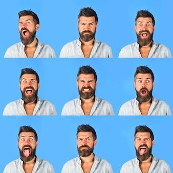 Zestaw ludzkich emocji różne emocje kolaż różnych emocji zestaw emotikonów zestaw emocji