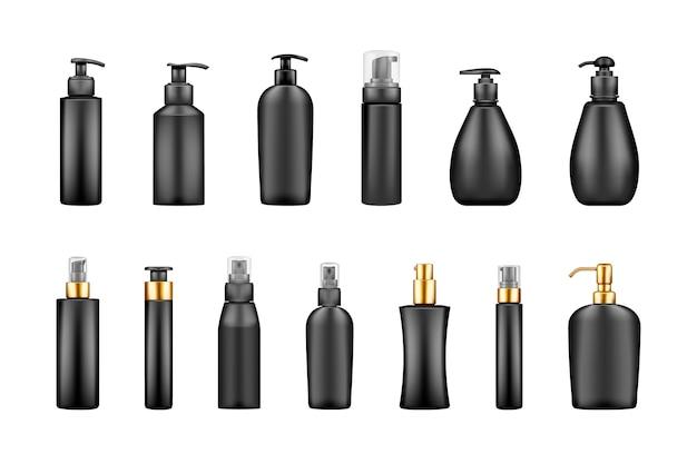 Zestaw makiet czarnych luksusowych butelek z pompką: serum, balsam, balsam, mydło, krem, środek dezynfekujący. projekt opakowania z tworzywa sztucznego. szablon kosmetyczny, higieniczny, do pielęgnacji skóry. na białym tle realistyczne ilustracje wektorowe 3d
