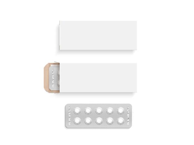 Zestaw makiet projektu puste białe pudełko pigułki, na białym tle