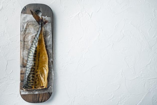 Zestaw makreli wędzonej ryby widok z góry