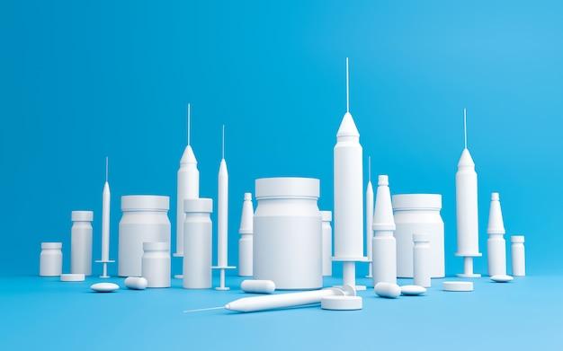 Zestaw medyczny strzykawek zestaw szczepionek do leczenia i zapobiegania chorobom. białe student medycyny pastylki, kapsułki lub pigułki na błękitnym tle z miasto budynku pojęciami. renderowanie 3d.