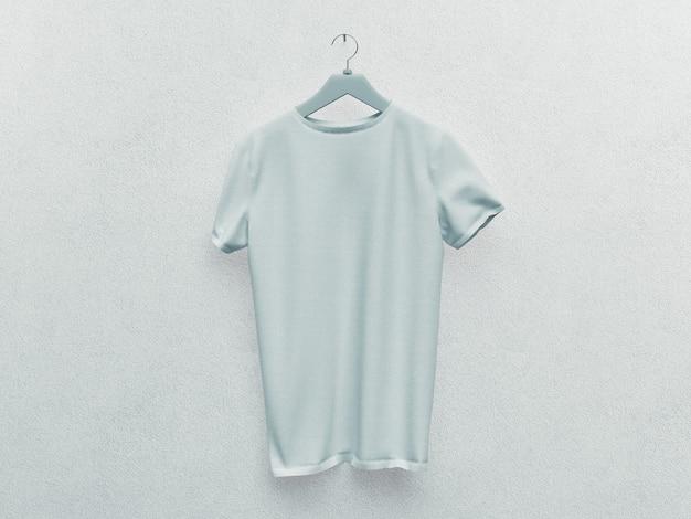 Zestaw na białym tle biały t-shirt lub realistyczny strój. renderowania 3d. pusta lub pusta, przezroczysta bawełniana koszulka. makieta jednolitego mężczyzny i kobiety. biała ściana.