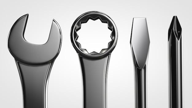 Zestaw narzędzi, klucze i śrubokręty z bliska na białym tle