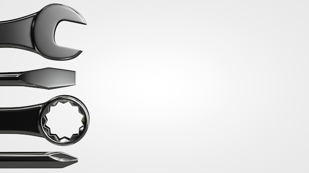 Zestaw narzędzi: klucze, śrubokręty. temat konserwacji.