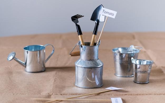 Zestaw narzędzi ogrodniczych do sadzenia w domu na drewnianym stole ogrodnictwo w domu