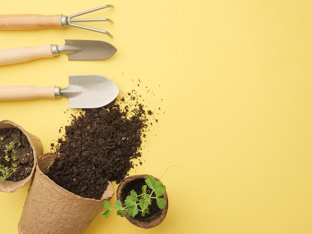 Zestaw narzędzi ogrodniczych na żółtej ścianie. ziemia wylewa się z garnka. widok z góry. miejsce na twój tekst. skopiuj miejsce.