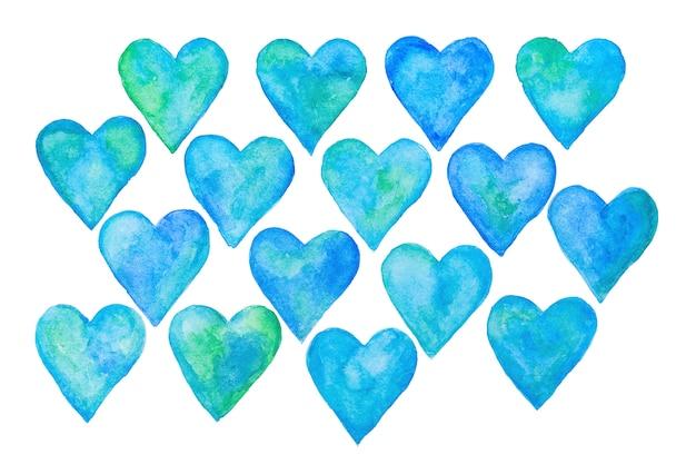 Zestaw niebieski streszczenie serca akwarela, ręcznie rysowane elementy serca.
