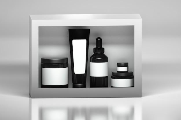 Zestaw pakietów produktów do pielęgnacji skóry. czarne plastikowe błyszczące pojemniki na kosmetyki