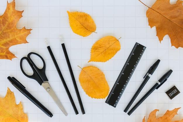 Zestaw papeterii jesienne liście na białym tle w kratkę powrót do szkoły