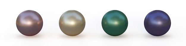 Zestaw pereł o różnych kolorach na białym tle. ilustracja 3d