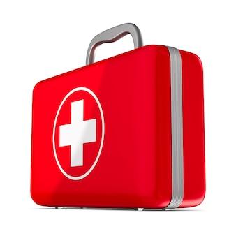 Zestaw pierwszej pomocy na białym tle. ilustracja 3d