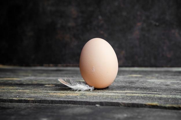 Zestaw pióro i jajko na ciemnym tle drewniane. widok z boku.