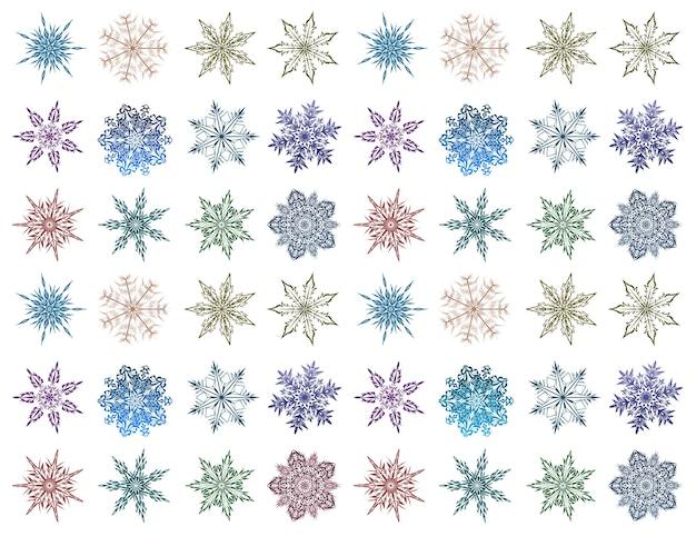 Zestaw płatki śniegu o różnych kształtach i kolorach. piękne płatki śniegu na białym tle