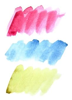 Zestaw pociągnięć pędzlem doodle akwarela (czerwony, niebieski, zielony)