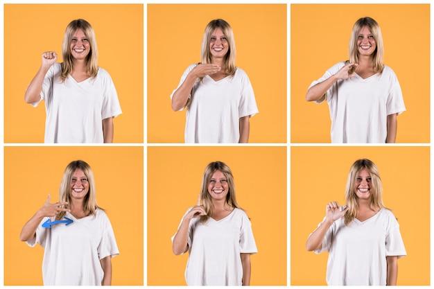 Zestaw pokazujący różne alfabety znak głuchy kobieta