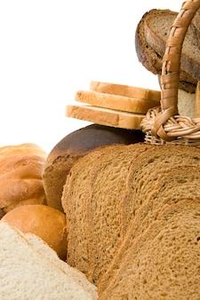 Zestaw produktów piekarniczych na białym tle