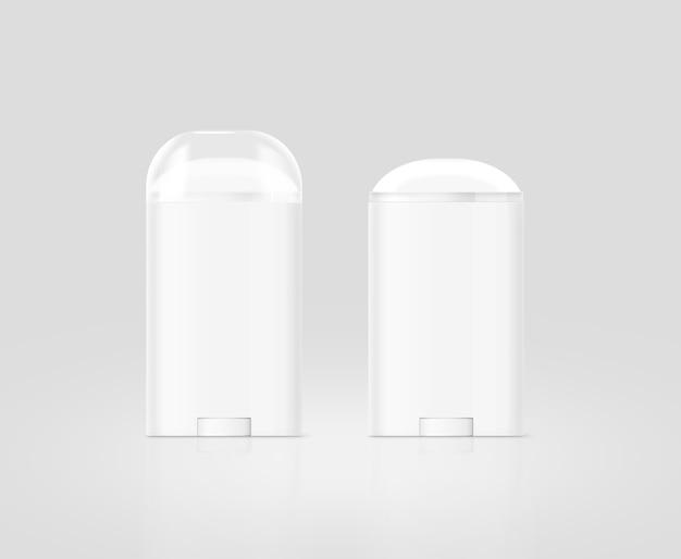 Zestaw pusty biały dezodorant w sztyfcie na białym tle