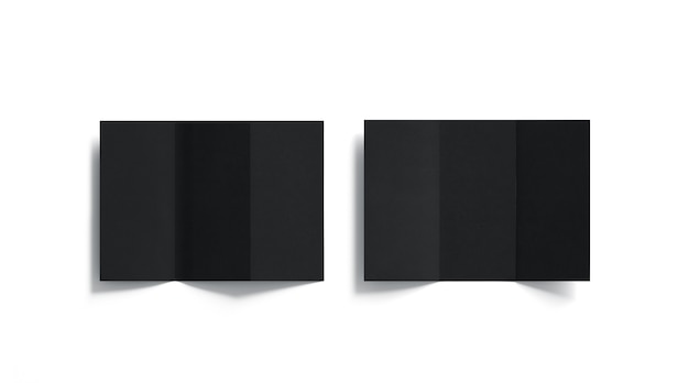 Zestaw pustych czarnych, trójskładanych broszur, otwarty widok z góry