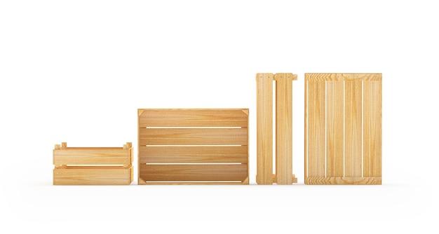 Zestaw pustych drewnianych palet lub pudełek