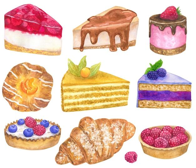 Zestaw pysznych deserów. styl akwareli. odosobniony