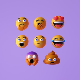 Zestaw realistyczne emoji lub emotikon twarze ikona. pływające emotikony lub emotikony z niespodzianką, zabawne i śmiejące się na fioletowym tle. ilustracja renderowania 3d.